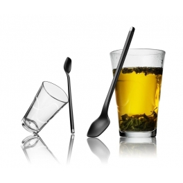 Large glass with latte spoon - 2 pcs